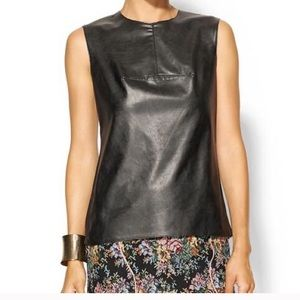 BCBGMAXAZRIA Flo faux leather shell top